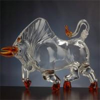 厂家供应生肖牛型玻璃工艺白酒瓶